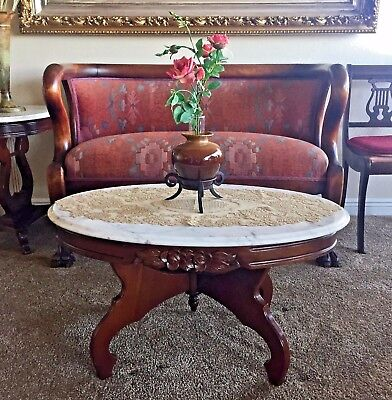 VINTAGE antique oval walnut coffee table with carved top 18000