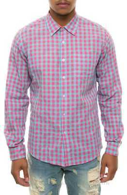 43e3bd62 Men's Filthy Etiquette Made In The USA Pink/Blue Long Sleeve Plaid Shirt  large L