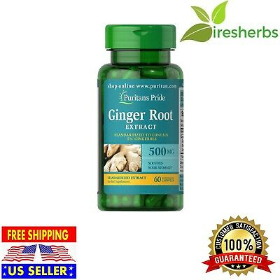 1X Ginger Root Standardized Extract 500 Mg Digestive Health Soothes Sour Stomach
