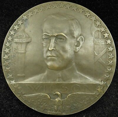 1917 World War 1 French Medal Woodrow Wilson America Joins the Allies Bronze