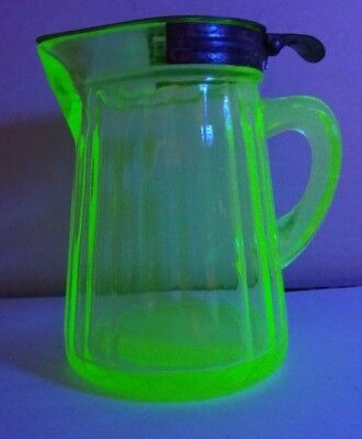 Light Green Vaseline Depression Glass Syrup Cream Creamer with Metal Cover