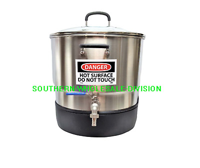 42 Lb Stainless Steel Wax Melter / 3 Piece / Lid / Free Thermometer