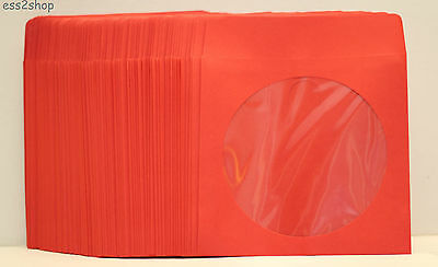 1000 Generic Red Color CD/DVD Video Game Paper Sleeve Envelope With Window Flap