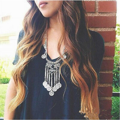 Women Ethnic Tribal Bohemian Necklace Coin Tassel Long Sweater Chain Jewelry
