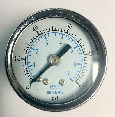 "1/8"" NPT Air Pressure Gauge 0-100 PSI Back Mount 1.5"" Face FREE SHIPPING"