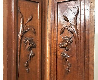 Hand Carved Wood Panel Matched Pair Antique French Walnut Fruit Salvaged Carving