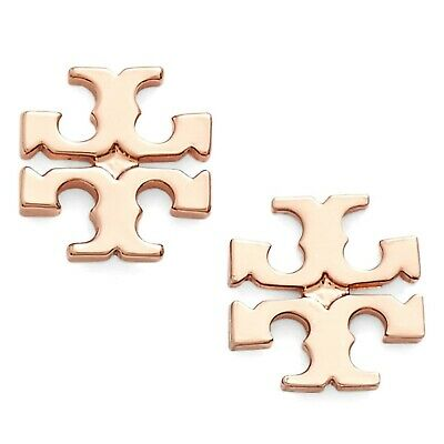 Tory Burch Rose Gold Small T Logo Stud Earrings On Card W Gift Box