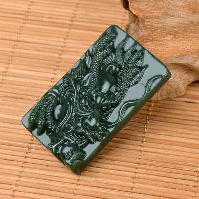 Chinese Rich Green Natural jade Hand-Carved HeTian Jade Pendant Dragon