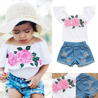 Embroidery Kids Baby Girls Floral Top Short Jeans Pant Outfit Set Clothes Summer