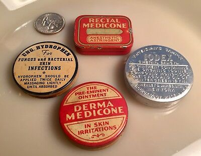 """4 Antique Medicine Tins """"physician Samples"""" Nice Package Deal Look!"""