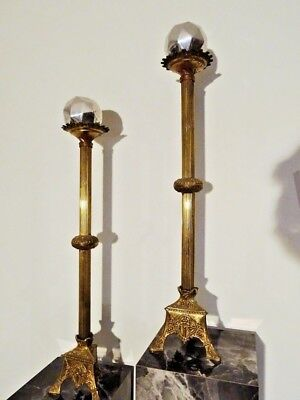 """salvaged 19thC CHAPEL ALTAR candle holders CHURCH cross 28""""H brass RELIGIOUS"""