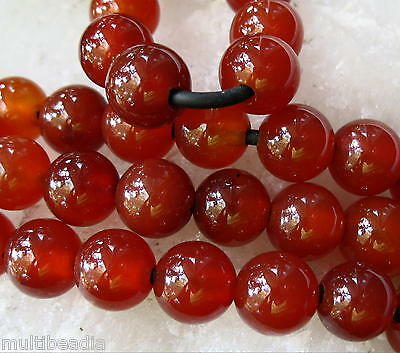 """Carnelian Agate 8mm Round 2mm Large Hole Beads 8"""" Leather Chain Wire Wrap"""