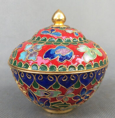 Chinese Decorated Collection Exquisite Cloisonne bowl Cup Red w643