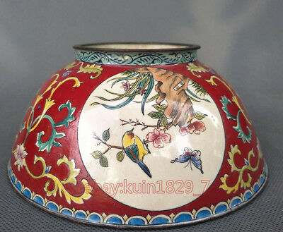 Chinese Decorated Collection Exquisite Cloisonne bowl red