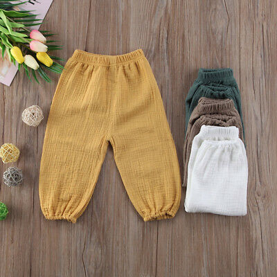 Toddler Baby Kids Girl Boys Soft Cotton Wrinkled Bloomers Trousers Legging Pants