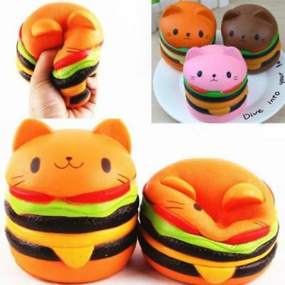 Scented Squishy Hamburger Cat Slow Rising Cartoon Soft Bread Toy Stress Relief J