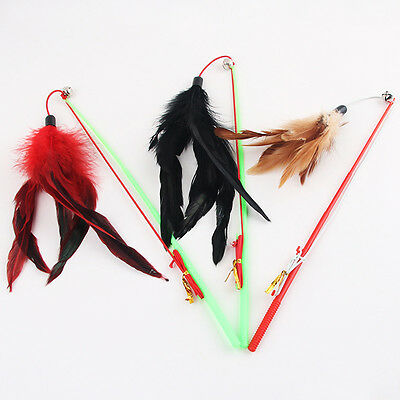 fishing rod type bird feather teaser wand plastic pet toy cats random color^-^