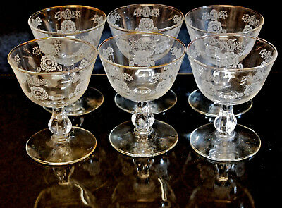 Vintage Glass Crystal Barware Set of 6 Goblets ''ROSE CLASSIC'' by Libbey USA