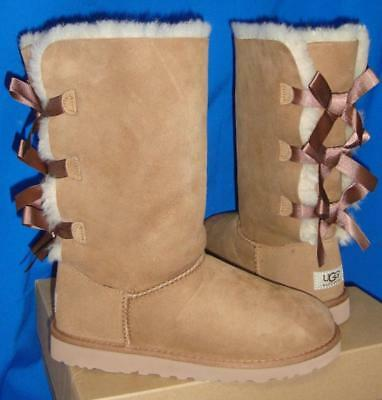 04218ae3205 UGG CHESTNUT TRIPLE Bailey Bow Tall Boots Size 4 Youth,Fit Women's 6 NEW  1007309