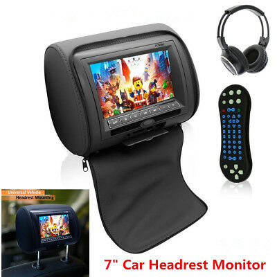 "7""Black TFT LCD Car Headrest Monitors w/DVD Player/USB/IR Remote/Games +Headset"
