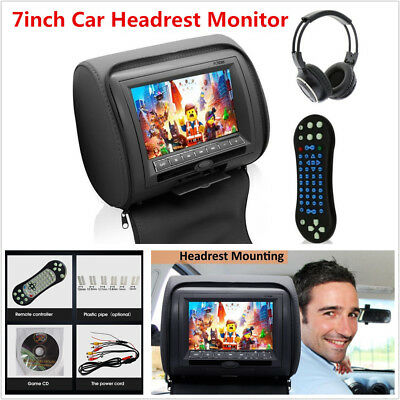 "Black 7"" LCD Car Headrest Monitors w/DVD Player/USB/IR Remote SD Games Headphone"