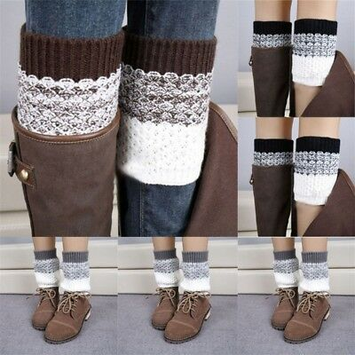 Women Winter Warm Crochet Knit Hosiery Knee Cover High Boot Socks Leg Warmers