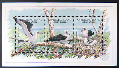 1990 Christmas Island Stamps - Abbott's Booby - Mini Sheet - 3 x 41c MNH