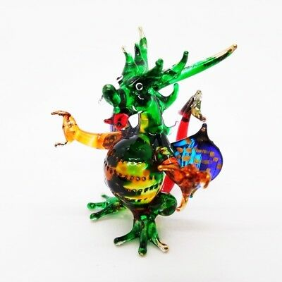 MINIATURE GREEN DRAGON CUTE HAND BLOWN GLASS ART FIGURINE ANIMALS Decorate