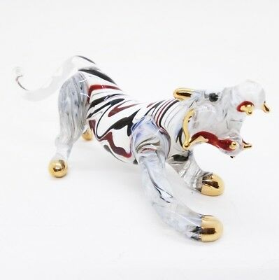 Tiger Canine Gold V.2 Miniature Blown Glass FIGURINE ANIMALS COLLECTION Decorate
