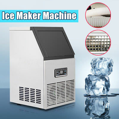 40KG 88Lbs Commercial Bar Ice Maker Cube Machines Stainless Steel 220V UK Ship