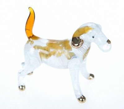 Dog After Yellow Cute Hand Blown Miniature Glass Art Animal Fancy Collectible