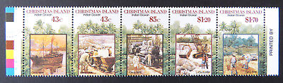 1991 Christmas Island Stamps - Centenary of 1st Mining Lease - Strip 5-Tabs MNH