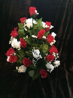 Red and White Memorial Vase / Cemetery Flowers for Christmas