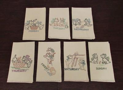 7 Days of the Week Scotty Dog Hand Embroidered Tea Towels Vtg. Scottish Terrier