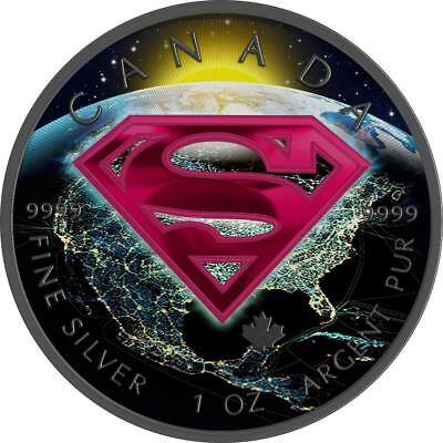 Canada 2016 5$ Superman 1 oz 9999 Silver Colored Earth Precious Bullion Coin