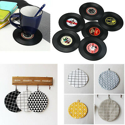 6PCS Round Vinyl Linen Coaster Cup Drinks Holder Mat Placemat Tableware 2styles