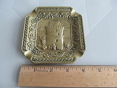 Vintage Solid Brass Ashtray Made In Greece  4.5 by 4.5 Inches