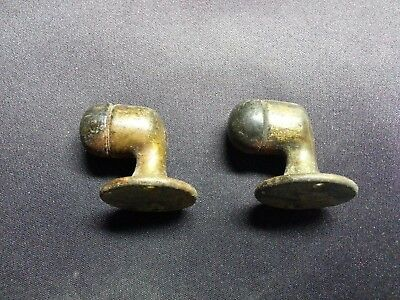 Pair Antique Vintage Solid Brass Gooseneck Floor Mounted Door Stops Early 1900's