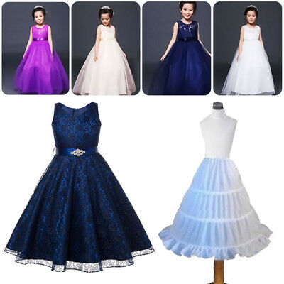 Kids Petticoat Flower Girls Party 3-Hoop Crinoline Underskirt Dress Slips Child