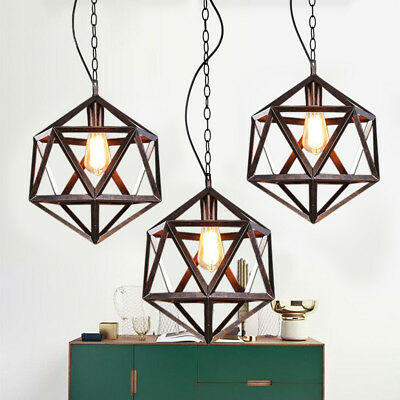 Industrial Vintage Wrought Iron Metal Cage Pendant Light Foyer Chandelier Lamp