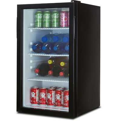 Beverage Wine Cooler Chiller Rack Mini Refrigerator LED Light Beer Soda, Black
