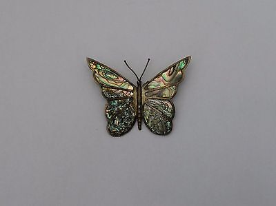 Large Beautiful Abalone Sterling Silver Butterfly Brooch 10.7 grams