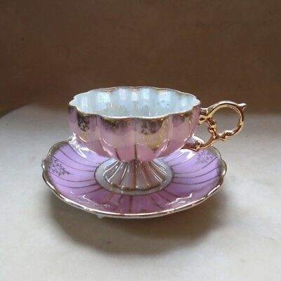 Vintage 50s Tea Cup & Saucer Royal Sealy China Japan Lusterware Pastel Pink w Go