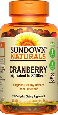 Sundown Naturals Super Cranberry 8400 mg Plus Vitamin D3 1000 IU, 150 Softgels