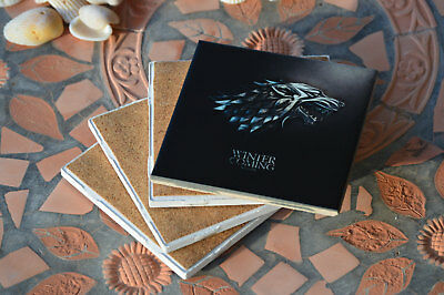 """Game of Thrones coasters 4""""x4"""" & cork! Great Gift, souvenirs ! Set of 8!"""