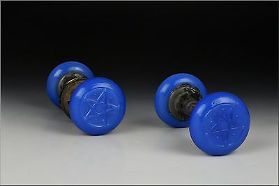 Two Sets Of 19th Century Sandwich Glass Blue Opalescent  Door Knobs
