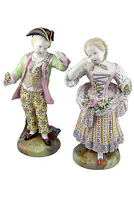 Large Early 19th Century Meissen Porcelain Boy & Girl Statues / Figurines 17+""
