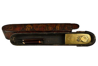 18th Century Qajar Qalamdan Polychrome Lacquer Pen Case w/ Brass Well Insert
