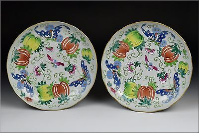 Pair of 18th Century Chinese Famille Rose Porcelain Plates