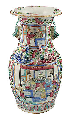 Large Beautiful 19thC Antique Chinese Famille Rose Porcelain Vase